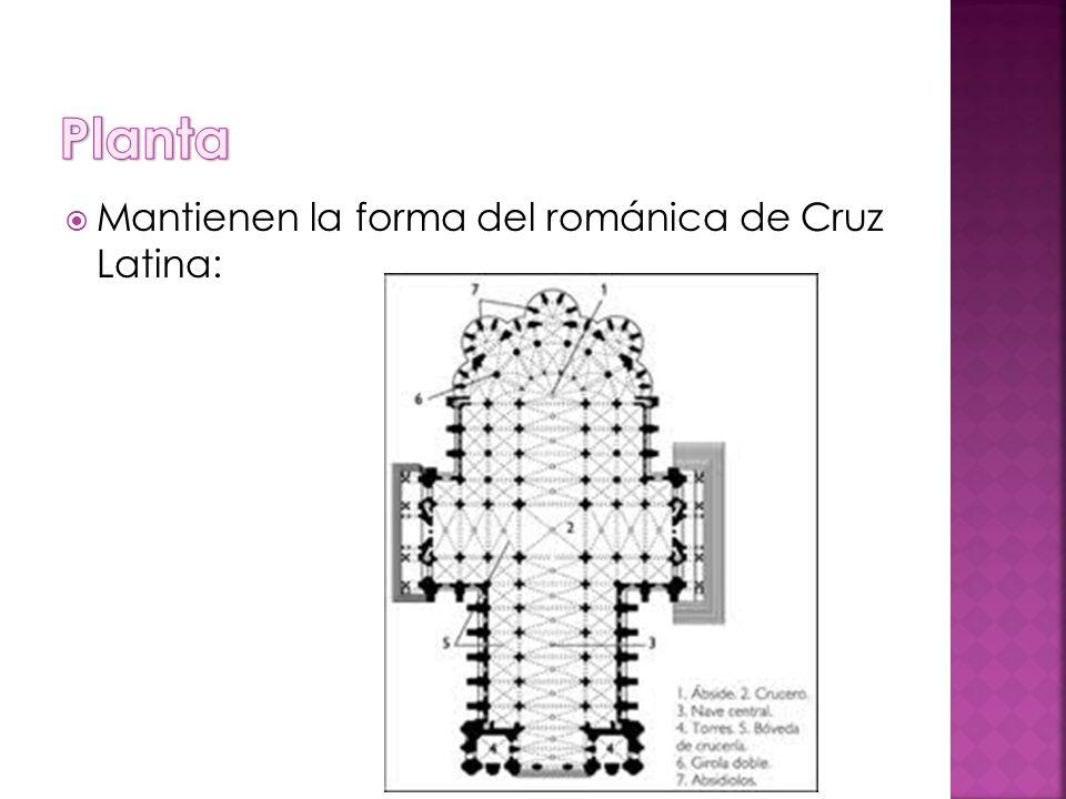 Mantienen la forma del románica de Cruz Latina: