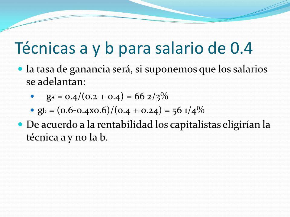 Técnicas a y b para salario de 0.4 la tasa de ganancia será, si suponemos que los salarios se adelantan: g a = 0.4/(0.2 + 0.4) = 66 2/3% g b = (0.6-0.