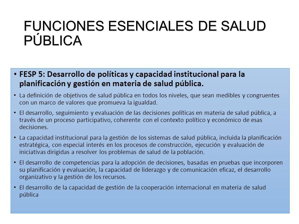 FUNCIONES ESENCIALES DE SALUD PÚBLICA FESP 5: Desarrollo de políticas y capacidad institucional para la planificación y gestión en materia de salud pública.