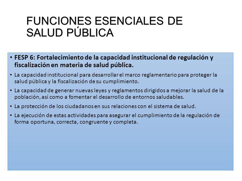 FUNCIONES ESENCIALES DE SALUD PÚBLICA FESP 6: Fortalecimiento de la capacidad institucional de regulación y fiscalización en materia de salud pública.
