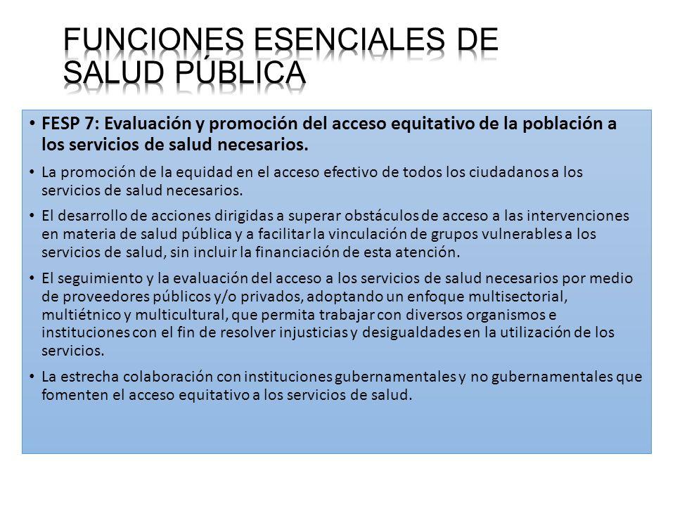 FESP 7: Evaluación y promoción del acceso equitativo de la población a los servicios de salud necesarios.