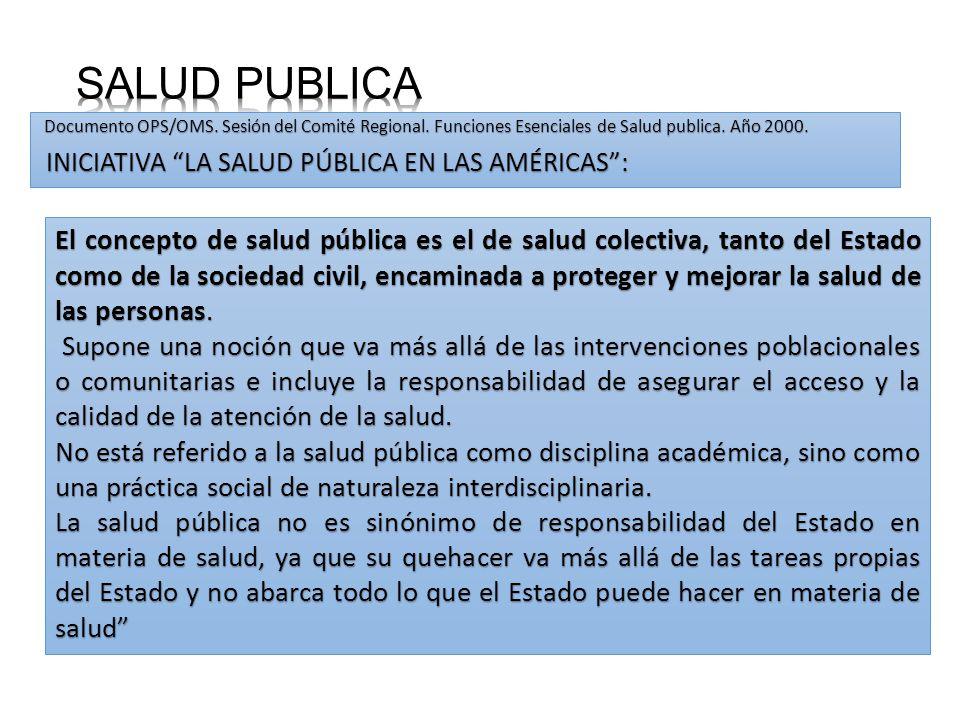 Documento OPS/OMS. Sesión del Comité Regional. Funciones Esenciales de Salud publica. Año 2000. INICIATIVA LA SALUD PÚBLICA EN LAS AMÉRICAS: INICIATIV