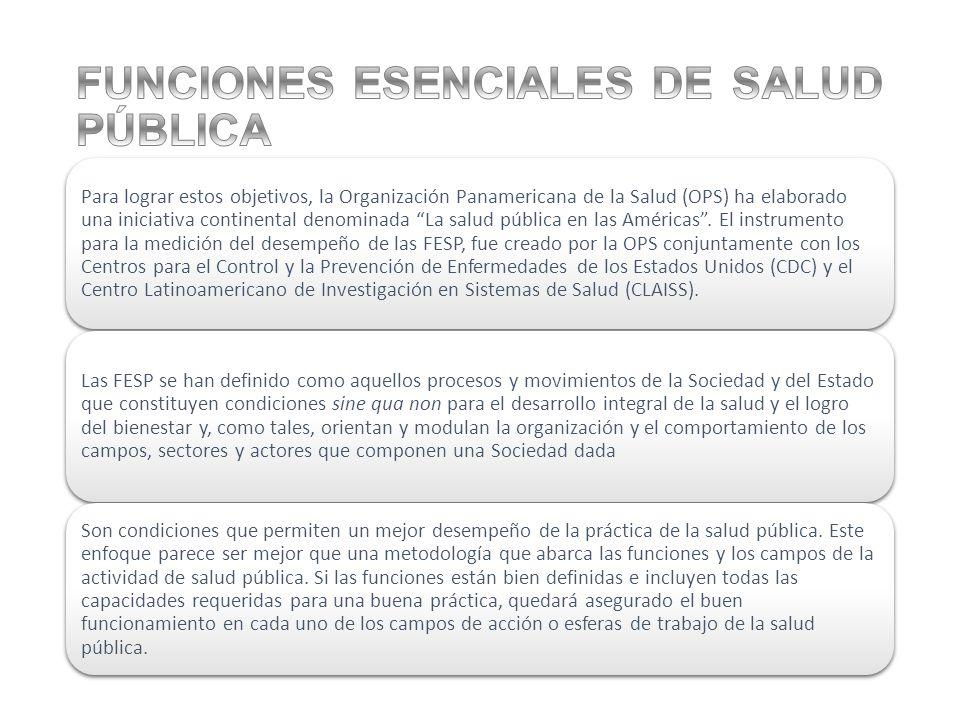 Para lograr estos objetivos, la Organización Panamericana de la Salud (OPS) ha elaborado una iniciativa continental denominada La salud pública en las Américas.
