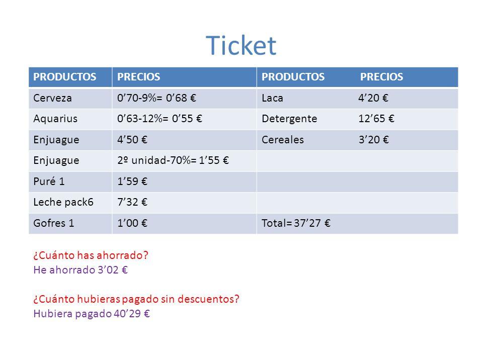 Ticket PRODUCTOSPRECIOSPRODUCTOS PRECIOS Cerveza070-9%= 068 Laca 420 Aquarius063-12%= 055 Detergente 1265 Enjuague450 Cereales 320 Enjuague2º unidad-7