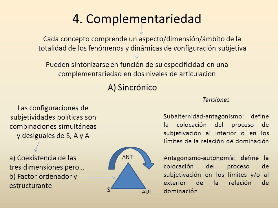 4. Complementariedad Cada concepto comprende un aspecto/dimensión/ámbito de la totalidad de los fenómenos y dinámicas de configuración subjetiva Puede