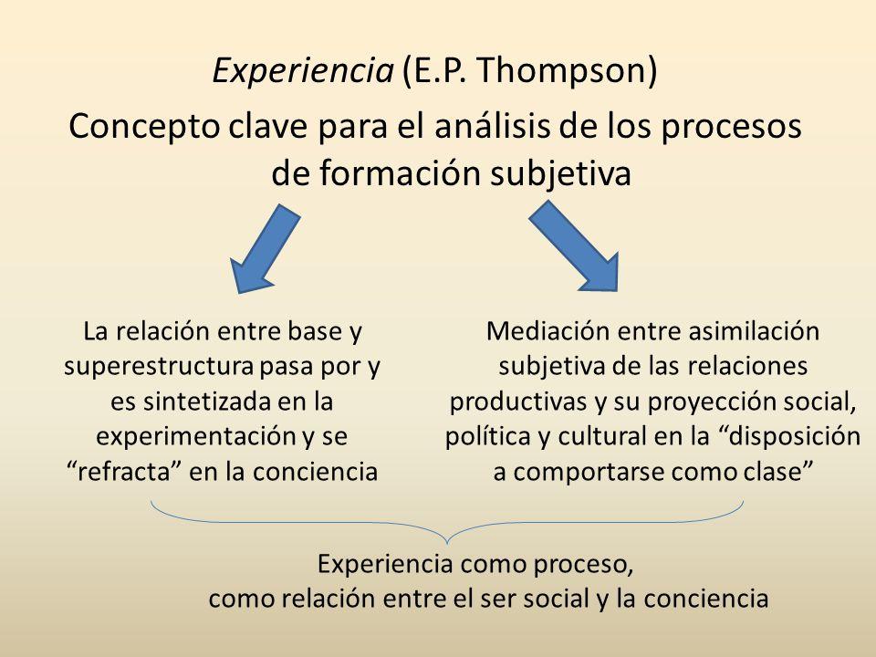 Experiencia (E.P. Thompson) Concepto clave para el análisis de los procesos de formación subjetiva Mediación entre asimilación subjetiva de las relaci