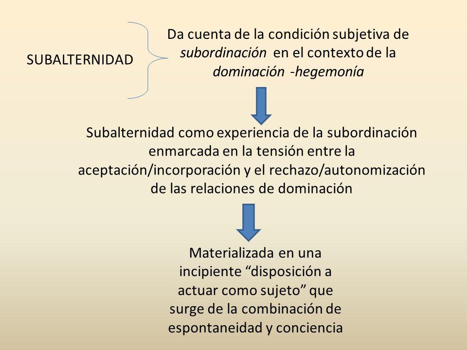 Subalternidad como experiencia de la subordinación enmarcada en la tensión entre la aceptación/incorporación y el rechazo/autonomización de las relaci