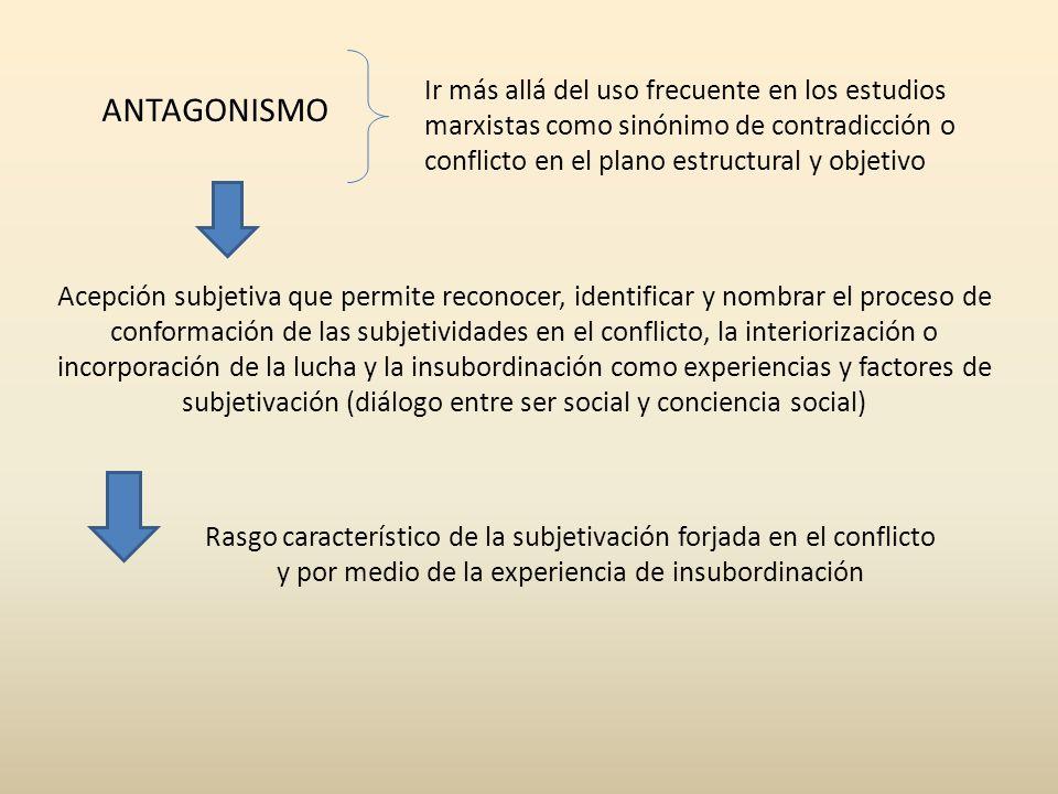 ANTAGONISMO Rasgo característico de la subjetivación forjada en el conflicto y por medio de la experiencia de insubordinación Acepción subjetiva que p