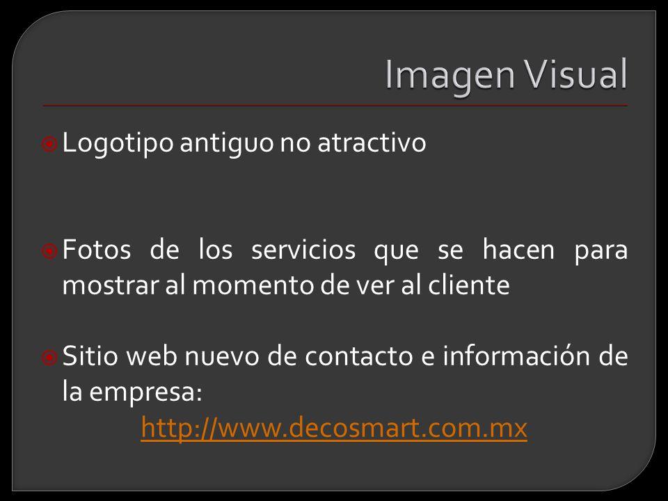 Logotipo antiguo no atractivo Fotos de los servicios que se hacen para mostrar al momento de ver al cliente Sitio web nuevo de contacto e información