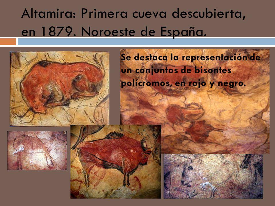 Altamira: Primera cueva descubierta, en 1879. Noroeste de España. Se destaca la representación de un conjuntos de bisontes polícromos, en rojo y negro