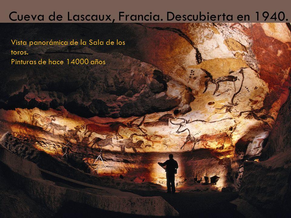 Cueva de Lascaux, Francia. Descubierta en 1940. Vista panorámica de la Sala de los toros. Pinturas de hace 14000 años
