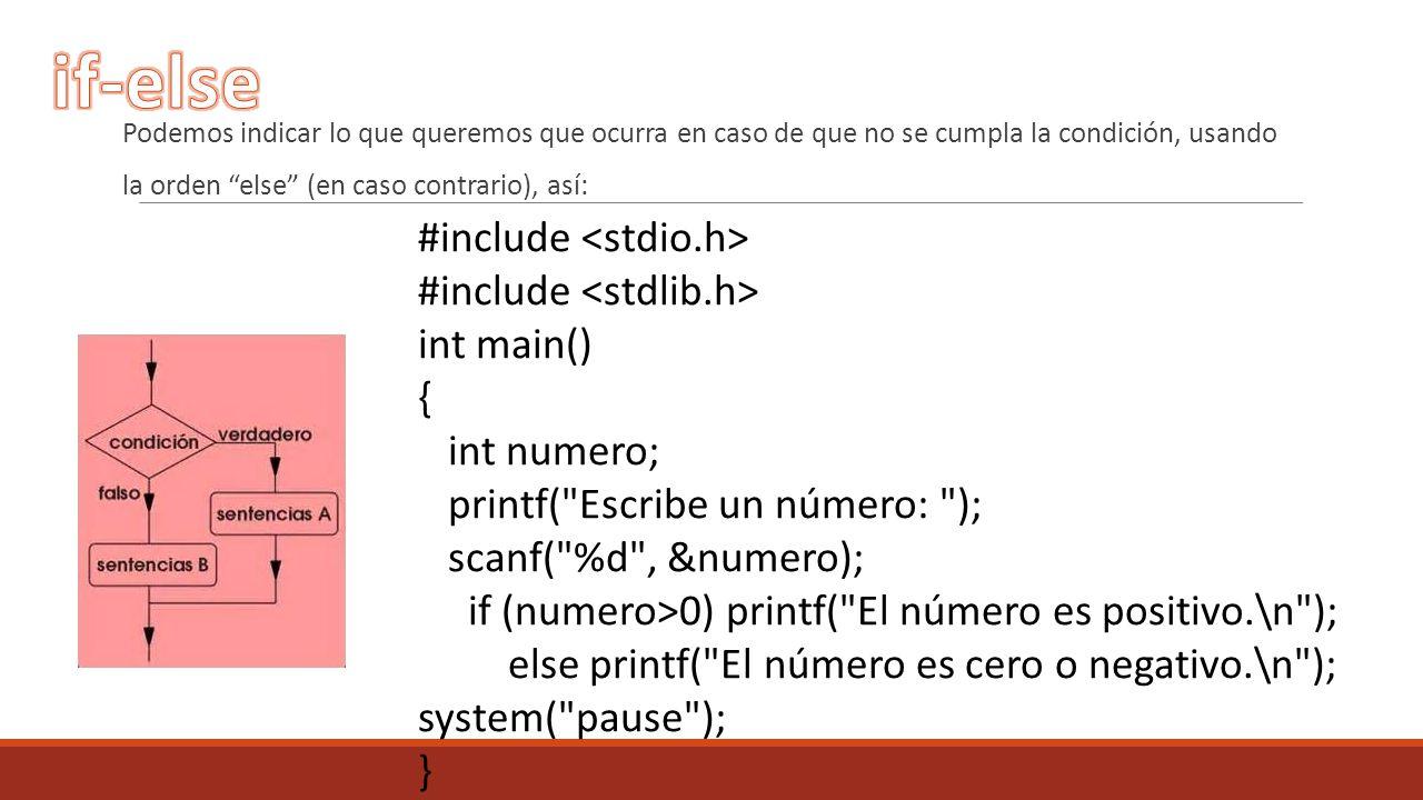 Podemos indicar lo que queremos que ocurra en caso de que no se cumpla la condición, usando la orden else (en caso contrario), así: #include int main(