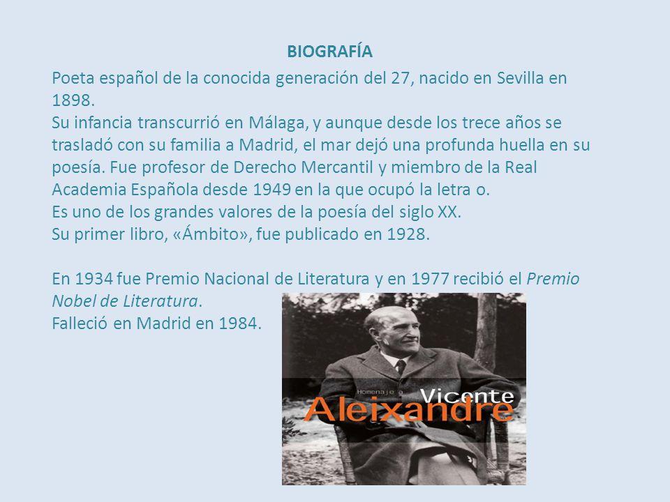 BIOGRAFÍA Poeta español de la conocida generación del 27, nacido en Sevilla en 1898.