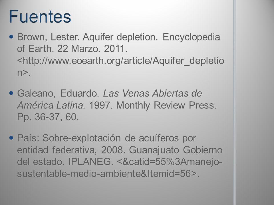 Brown, Lester. Aquifer depletion. Encyclopedia of Earth. 22 Marzo. 2011.. Brown, Lester. Aquifer depletion. Encyclopedia of Earth. 22 Marzo. 2011.. Ga