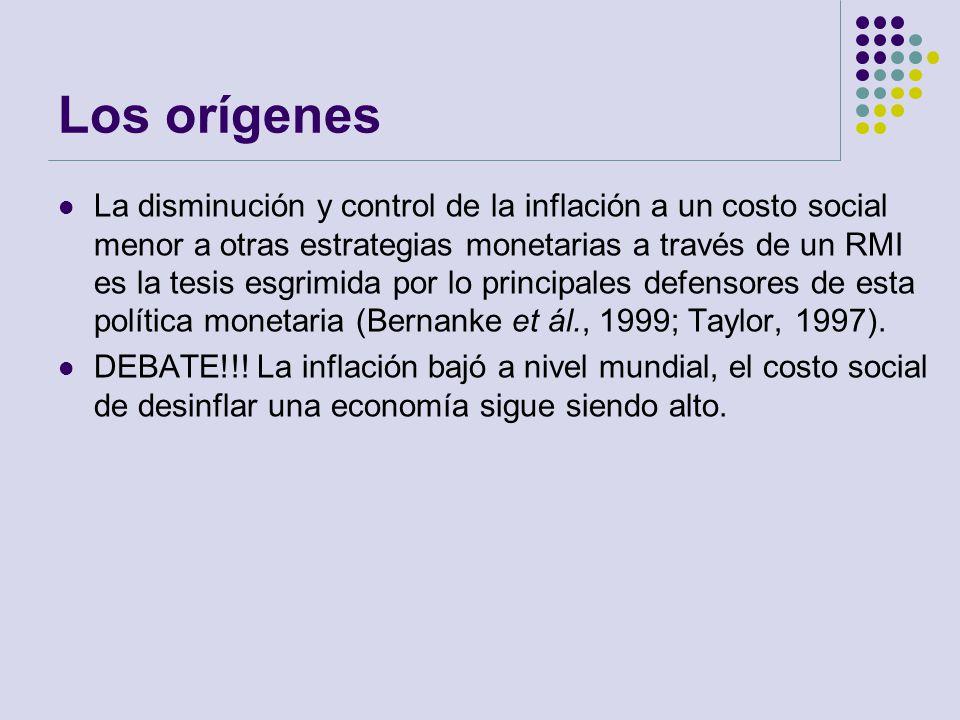 Los orígenes La disminución y control de la inflación a un costo social menor a otras estrategias monetarias a través de un RMI es la tesis esgrimida