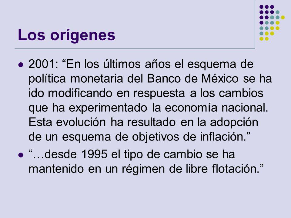 Los orígenes 2001: En los últimos años el esquema de política monetaria del Banco de México se ha ido modificando en respuesta a los cambios que ha ex