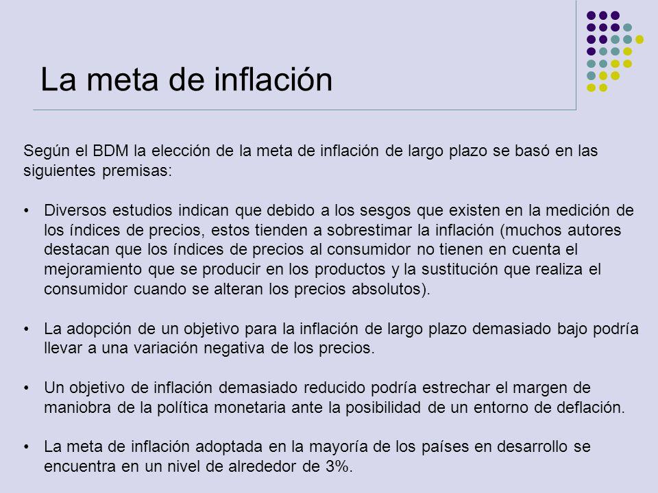 Según el BDM la elección de la meta de inflación de largo plazo se basó en las siguientes premisas: Diversos estudios indican que debido a los sesgos