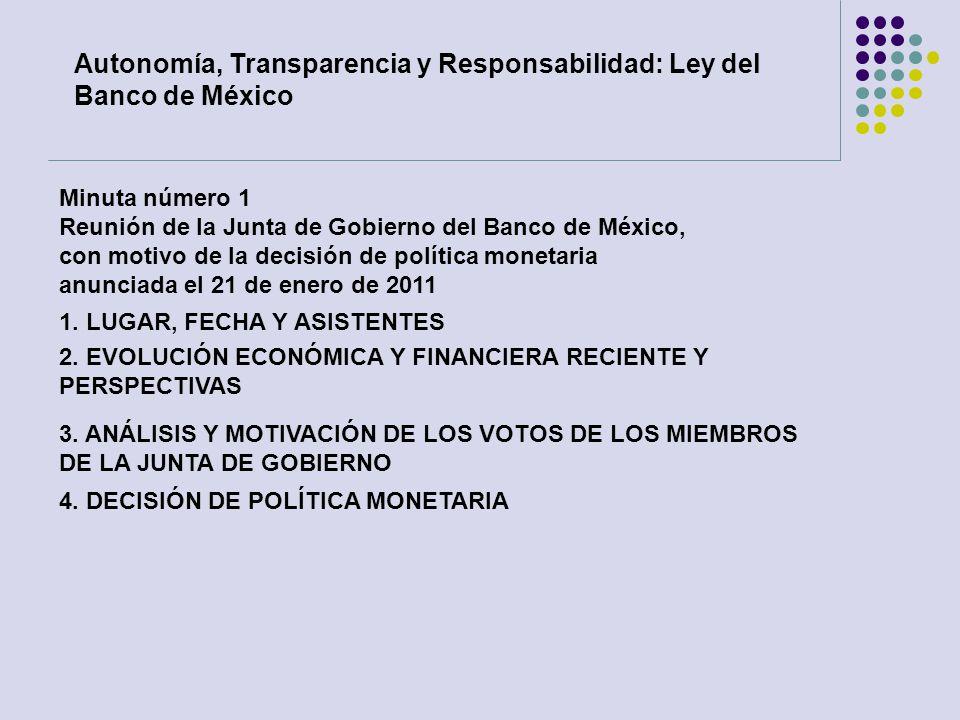 Minuta número 1 Reunión de la Junta de Gobierno del Banco de México, con motivo de la decisión de política monetaria anunciada el 21 de enero de 2011