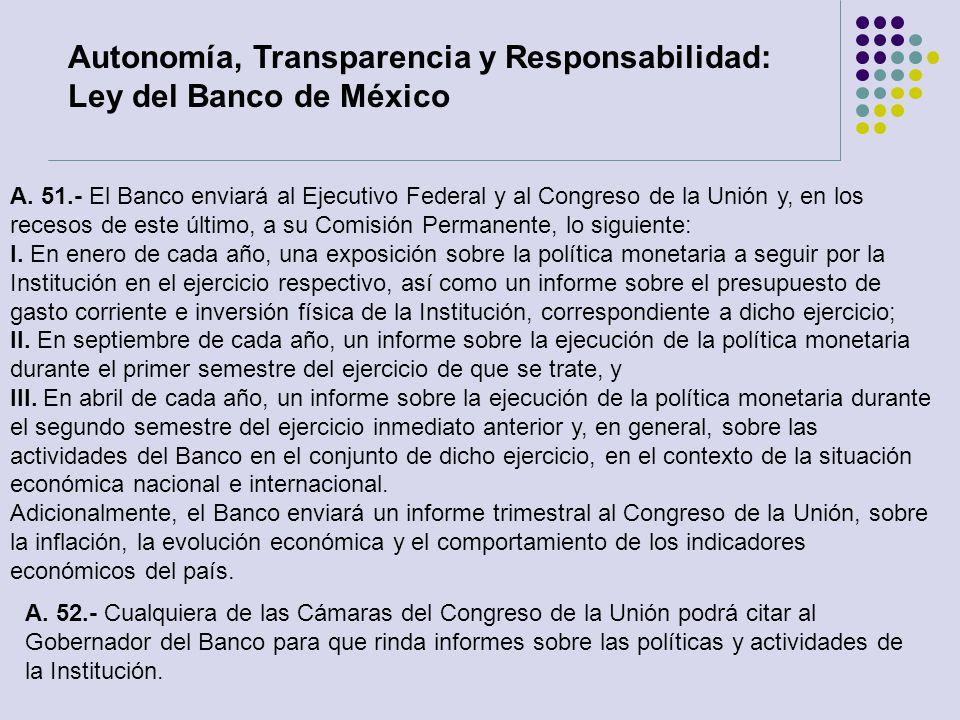 A. 52.- Cualquiera de las Cámaras del Congreso de la Unión podrá citar al Gobernador del Banco para que rinda informes sobre las políticas y actividad