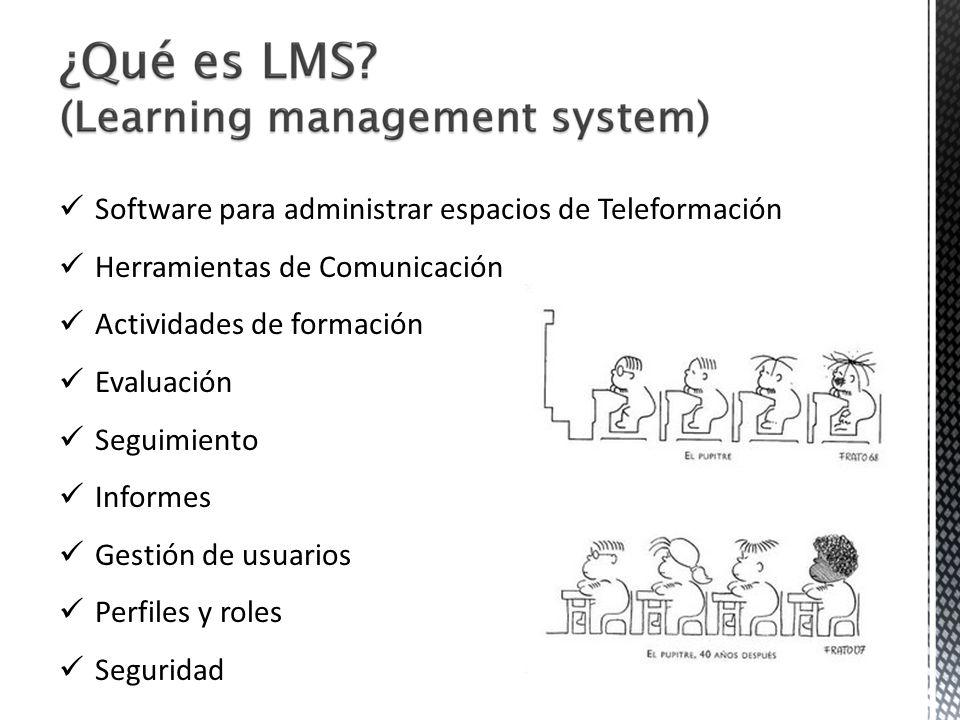 Software para administrar espacios de Teleformación Herramientas de Comunicación Actividades de formación Evaluación Seguimiento Informes Gestión de u
