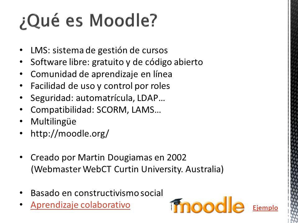 LMS: sistema de gestión de cursos Software libre: gratuito y de código abierto Comunidad de aprendizaje en línea Facilidad de uso y control por roles