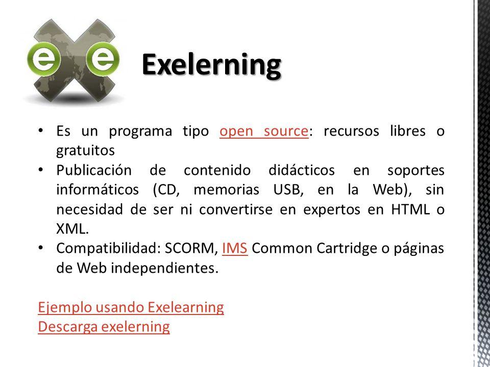 Es un programa tipo open source: recursos libres o gratuitosopen source Publicación de contenido didácticos en soportes informáticos (CD, memorias USB