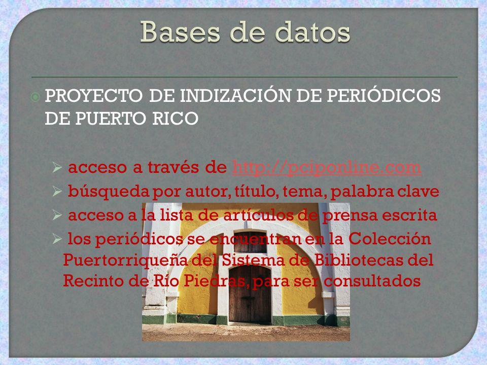 CONUCO Índice de revistas y publicaciones electrónicas de Puerto Rico incluye fuentes de referencia sobre Puerto Rico, publicadas en la Isla o en el e