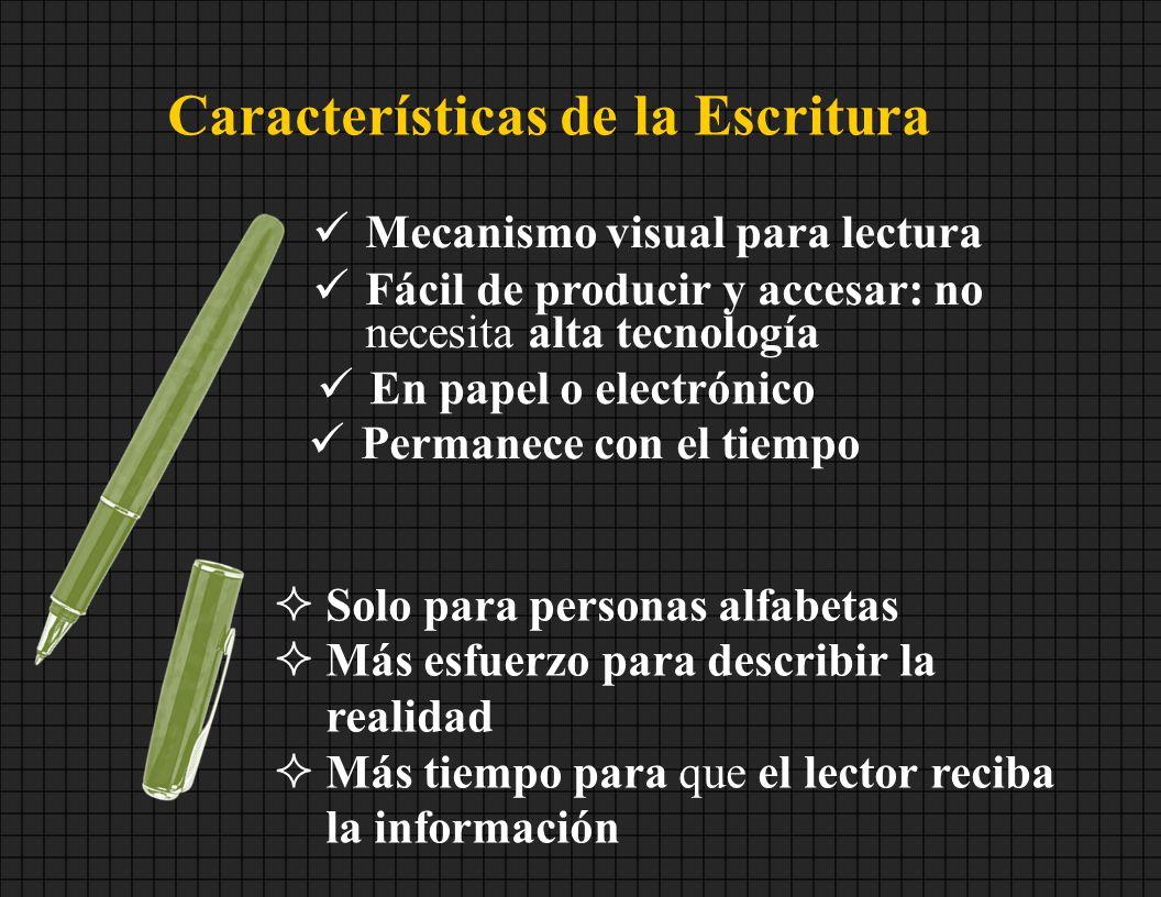 Características de la Escritura Mecanismo visual para lectura Fácil de producir y accesar: no necesita alta tecnología En papel o electrónico Permanec