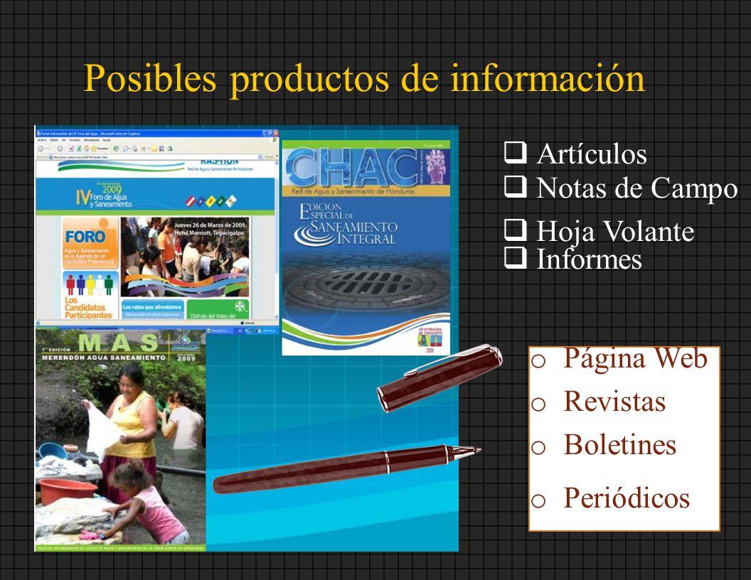 Posibles productos de información Artículos Notas de Campo Hoja Volante Informes o Página Web o Revistas o Boletines o Periódicos