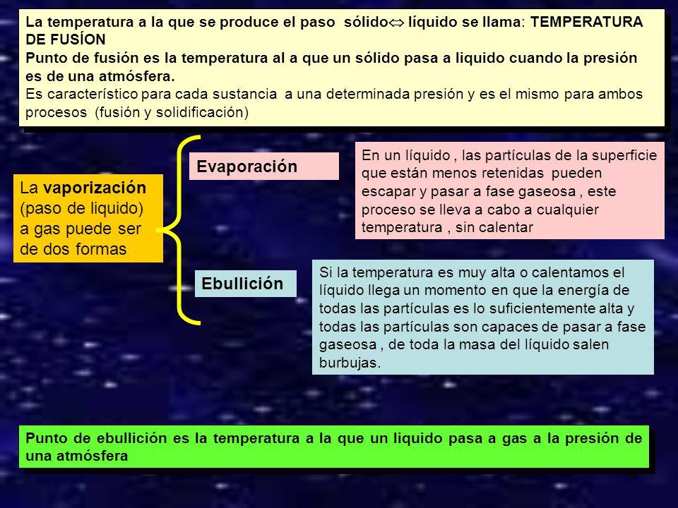 8 La temperatura permanece constante durante toda la solidificación La temperatura permanece constante durante toda la fusíon La temperatura a la que