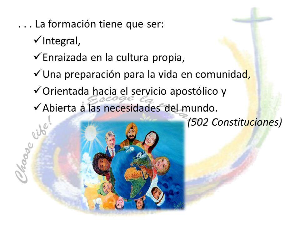 ... La formación tiene que ser: Integral, Enraizada en la cultura propia, Una preparación para la vida en comunidad, Orientada hacia el servicio apost