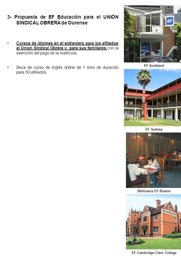 3- Propuesta de EF Educación para el UNIÓN SINDICAL OBRERA de Ourense Cursos de idiomas en el extranjero para los afiliados al Union Sindical Obrera y para sus familiares con la exención del pago de la matrícula.