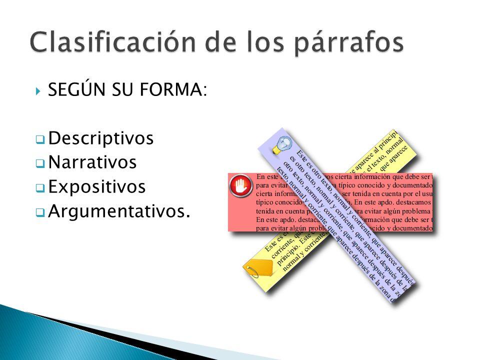 SEGÚN SU FORMA: Descriptivos Narrativos Expositivos Argumentativos.