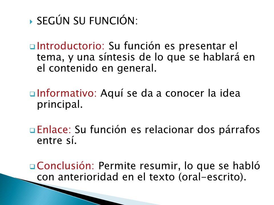 SEGÚN SU FUNCIÓN: Introductorio: Su función es presentar el tema, y una síntesis de lo que se hablará en el contenido en general. Informativo: Aquí se