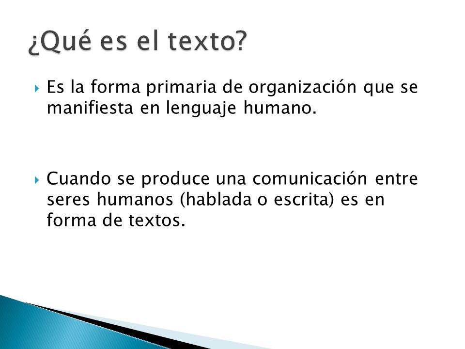 Es la forma primaria de organización que se manifiesta en lenguaje humano. Cuando se produce una comunicación entre seres humanos (hablada o escrita)