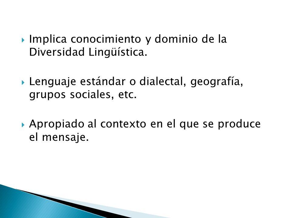 Implica conocimiento y dominio de la Diversidad Lingüística. Lenguaje estándar o dialectal, geografía, grupos sociales, etc. Apropiado al contexto en