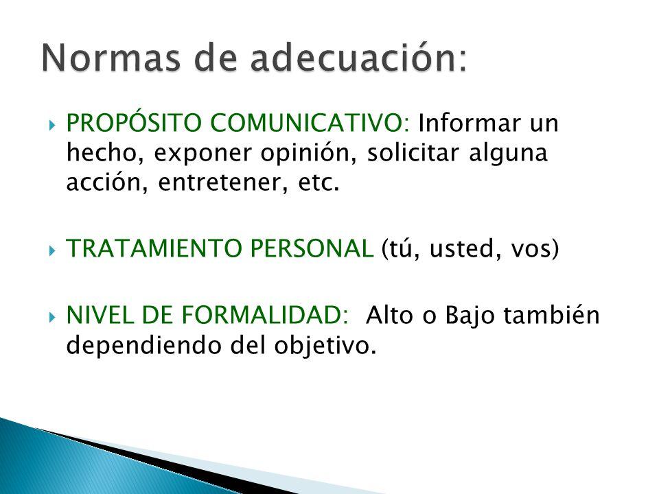 PROPÓSITO COMUNICATIVO: Informar un hecho, exponer opinión, solicitar alguna acción, entretener, etc. TRATAMIENTO PERSONAL (tú, usted, vos) NIVEL DE F