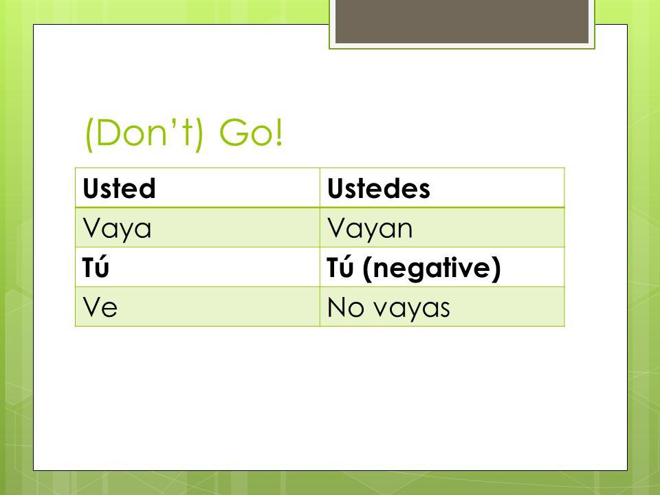 (Dont) Go! UstedUstedes VayaVayan TúTú (negative) VeNo vayas