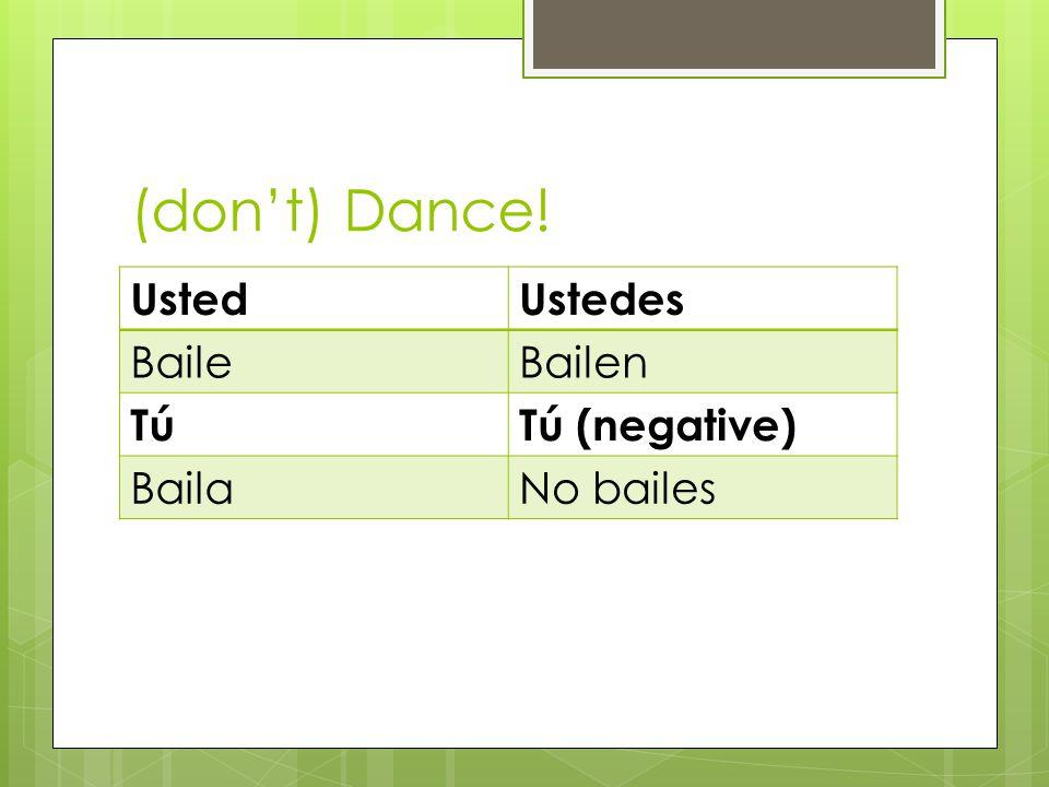 (dont) Dance! UstedUstedes BaileBailen TúTú (negative) BailaNo bailes