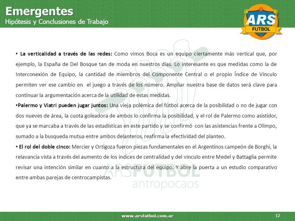 Emergentes Hipótesis y Conclusiones de Trabajo 12 www.arsfutbol.com.ar La verticalidad a través de las redes: Como vimos Boca es un equipo ciertamente