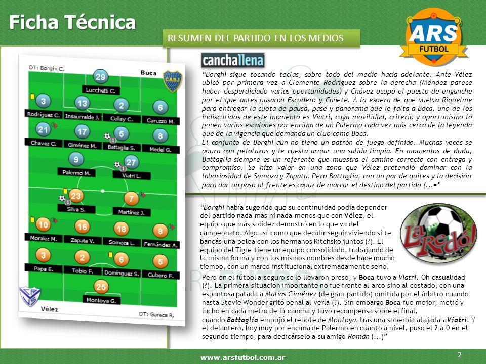 Ficha Técnica 2 www.arsfutbol.com.ar RESUMEN DEL PARTIDO EN LOS MEDIOS Borghi sigue tocando teclas, sobre todo del medio hacia adelante. Ante Vélez ub