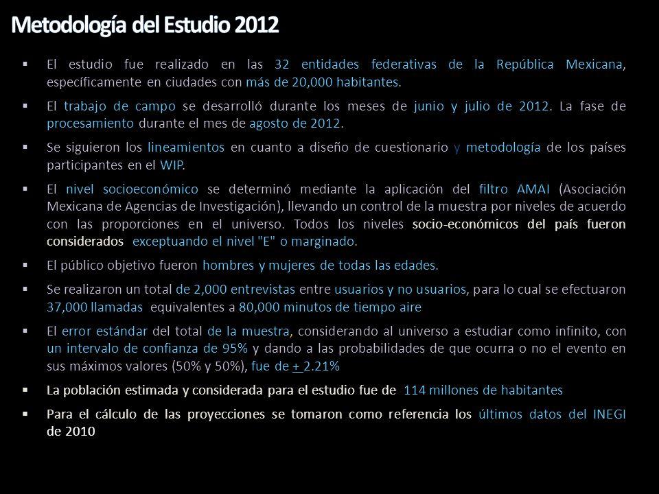 El estudio fue realizado en las 32 entidades federativas de la República Mexicana, específicamente en ciudades con más de 20,000 habitantes. El trabaj