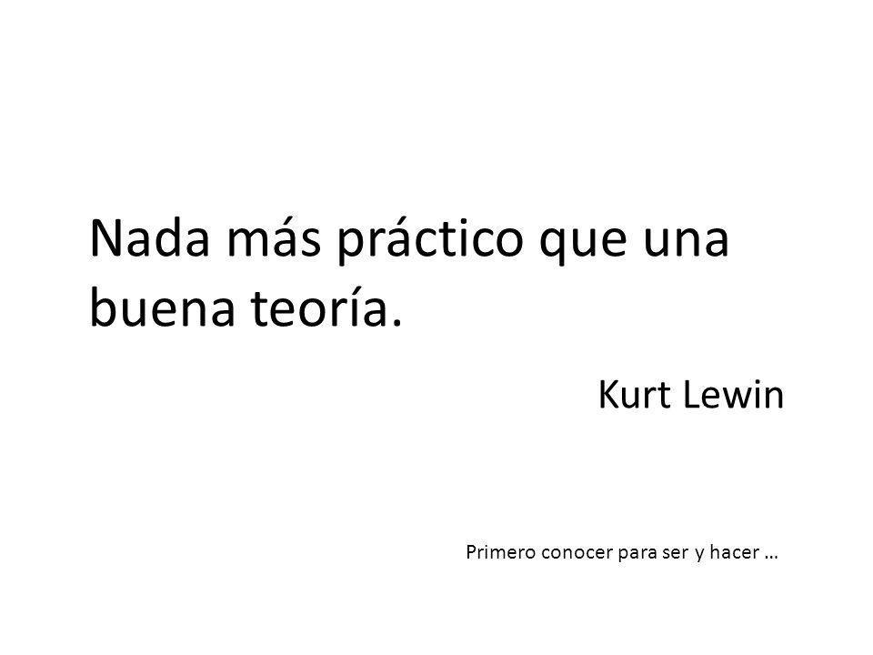 Nada más práctico que una buena teoría. Kurt Lewin Primero conocer para ser y hacer …