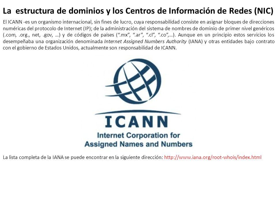 La estructura de dominios y los Centros de Información de Redes (NIC) El ICANN -es un organismo internacional, sin fines de lucro, cuya responsabilida