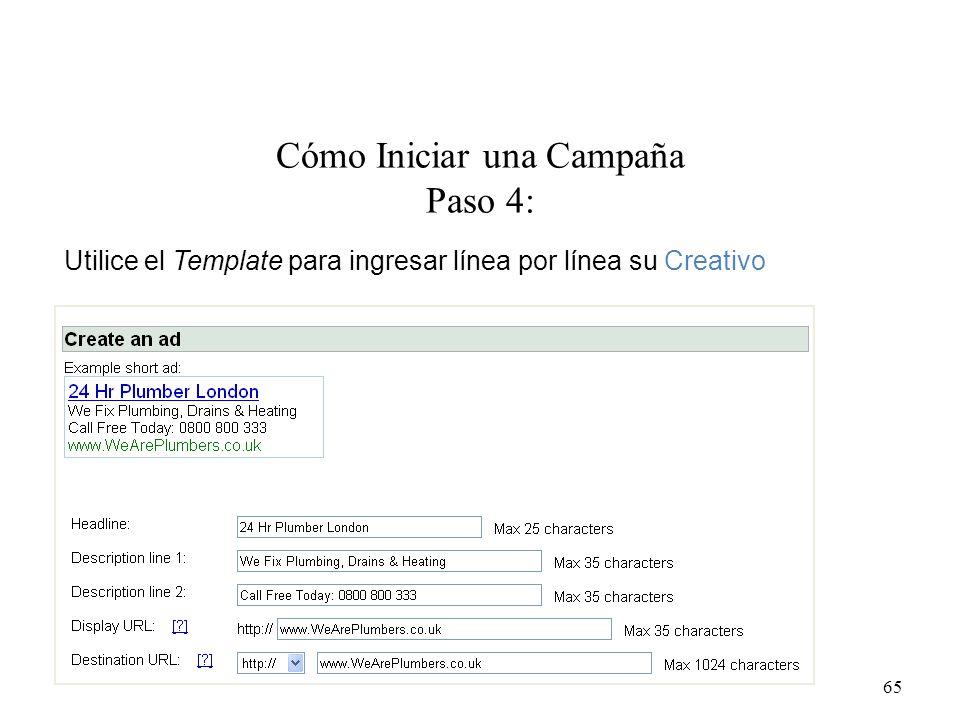 Cómo Iniciar una Campaña Paso 4: 65 Utilice el Template para ingresar línea por línea su Creativo