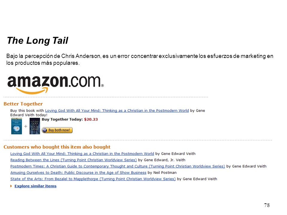78 The Long Tail Bajo la percepción de Chris Anderson, es un error concentrar exclusivamente los esfuerzos de marketing en los productos más populares.
