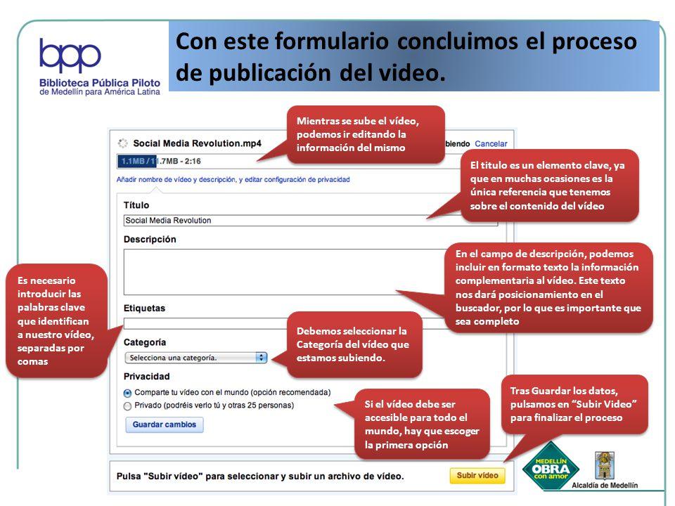 Con este formulario concluimos el proceso de publicación del video. Mientras se sube el vídeo, podemos ir editando la información del mismo El titulo
