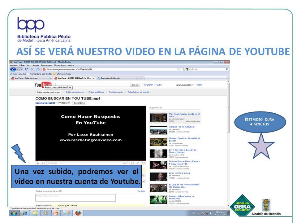 ASÍ SE VERÁ NUESTRO VIDEO EN LA PÁGINA DE YOUTUBE Una vez subido, podremos ver el video en nuestra cuenta de Youtube.