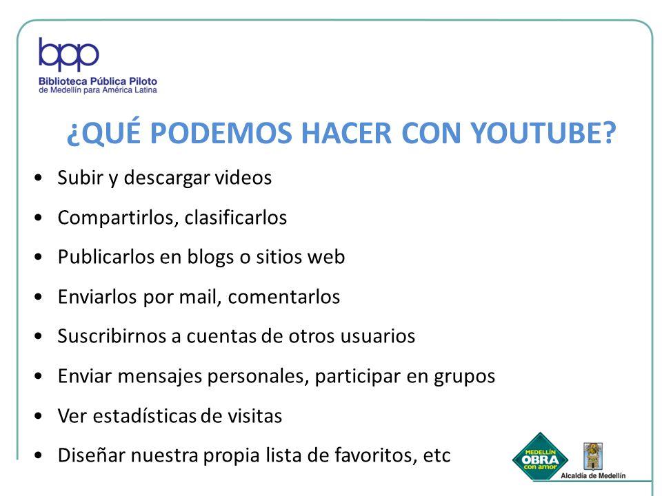 ¿QUÉ PODEMOS HACER CON YOUTUBE? Subir y descargar videos Compartirlos, clasificarlos Publicarlos en blogs o sitios web Enviarlos por mail, comentarlos