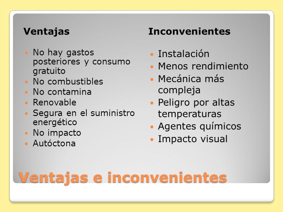 Ventajas e inconvenientes VentajasInconvenientes No hay gastos posteriores y consumo gratuito No combustibles No contamina Renovable Segura en el sumi